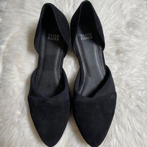 Eileen Fisher Hilly D'Orsay Black Suede Flats